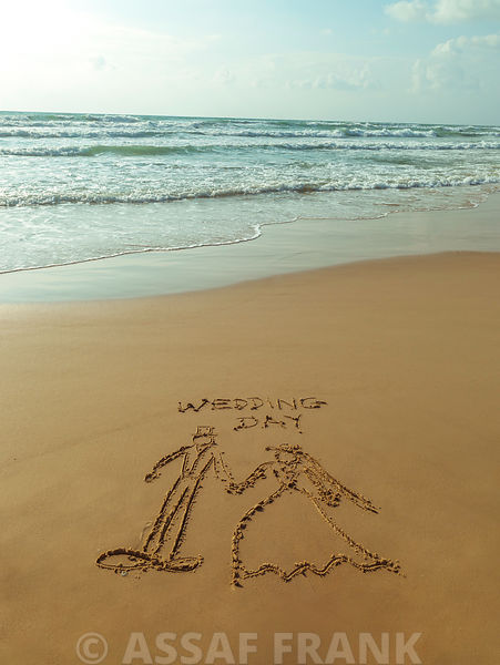 Wedding Couple - Beach writing