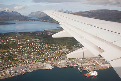 Aerial view over Tromso from an aeroplane window, Norway, September 2009.