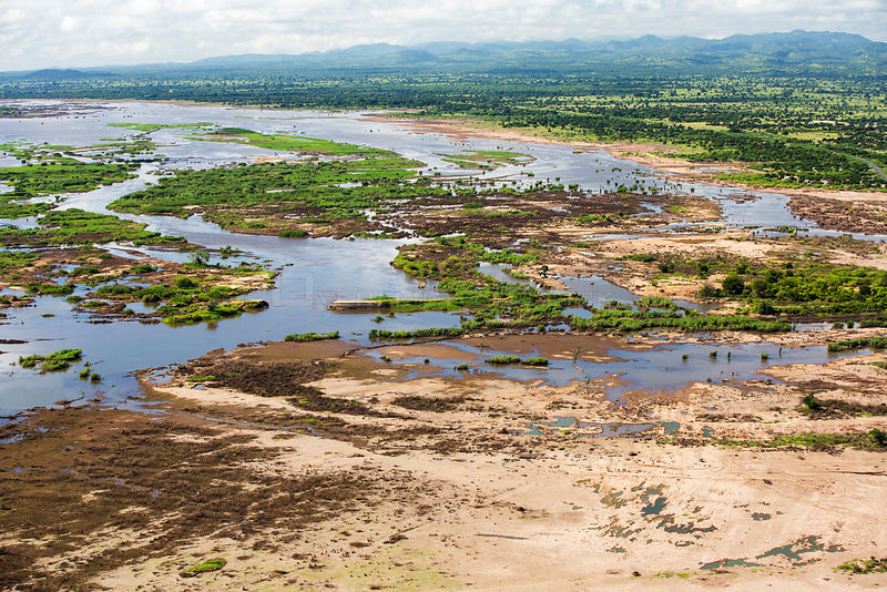 Aerial view of land flooded by the January 2015 floods with washed away road, near Makhanga, Malawi, March 2015.