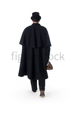 A Figurestock image of a Victorian man in a cloak, carrying a bag, from the back - shot from eye level.
