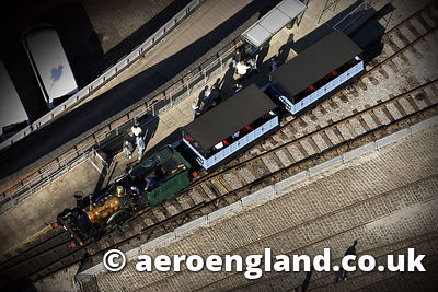 aerial photograph of steam  locomotive planet  at the science and industry museum in manchester Greater Manchester England UK