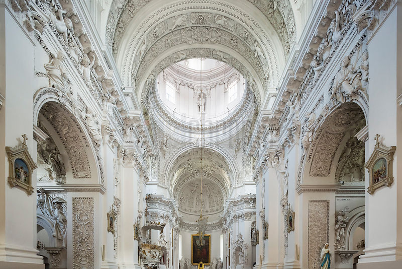 Interior of the Baroque Church of Church of St Peter & St Paul Showing the Vaulted Nave and Cupola