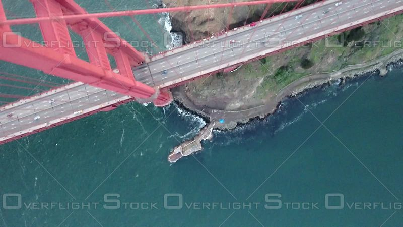 Golden Gate Bridge Overhead Bird's Eye View North Suspension Tower
