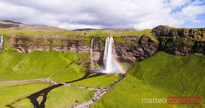 Aerial panoramic of Seljalandsfoss waterfall, Iceland