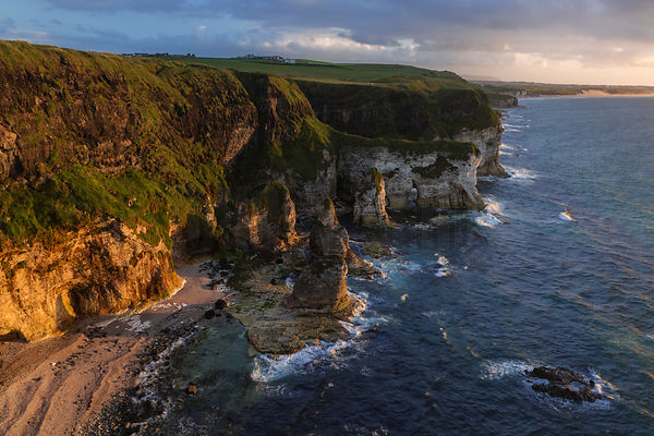White Cliffs at Sunset on the Antrim Coast Next to Dunluce Castle