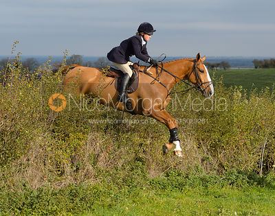 Annie Bellamy jumping a hedge near Clawson Thorns