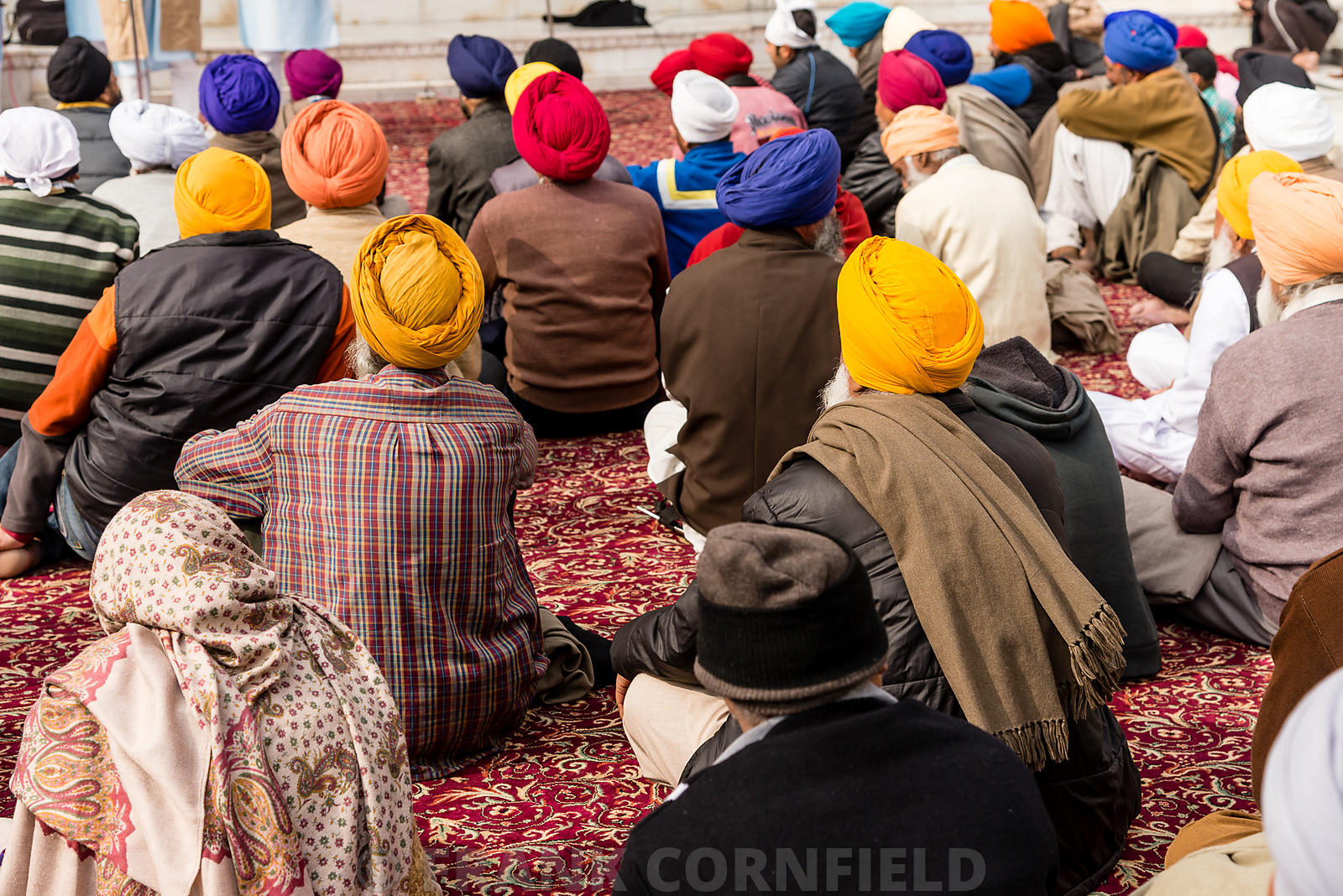 Sikh pilgrims sitting at prayer at the Golden Temple in Amritsar.