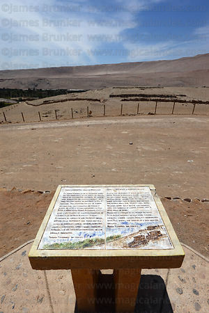 Ceramic tiles with brief explanation of history of site at entrance to Pukara San Lorenzo, Azapa Valley, Region XV , Chile