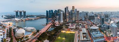 Panoramic of skyline at sunset, Singapore