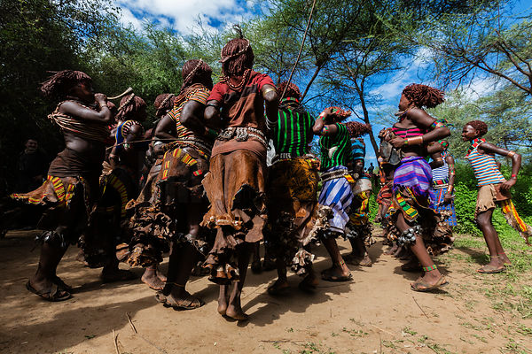 Hamar Women Dancing at Pre-Bull Jumping Whipping Ceremony