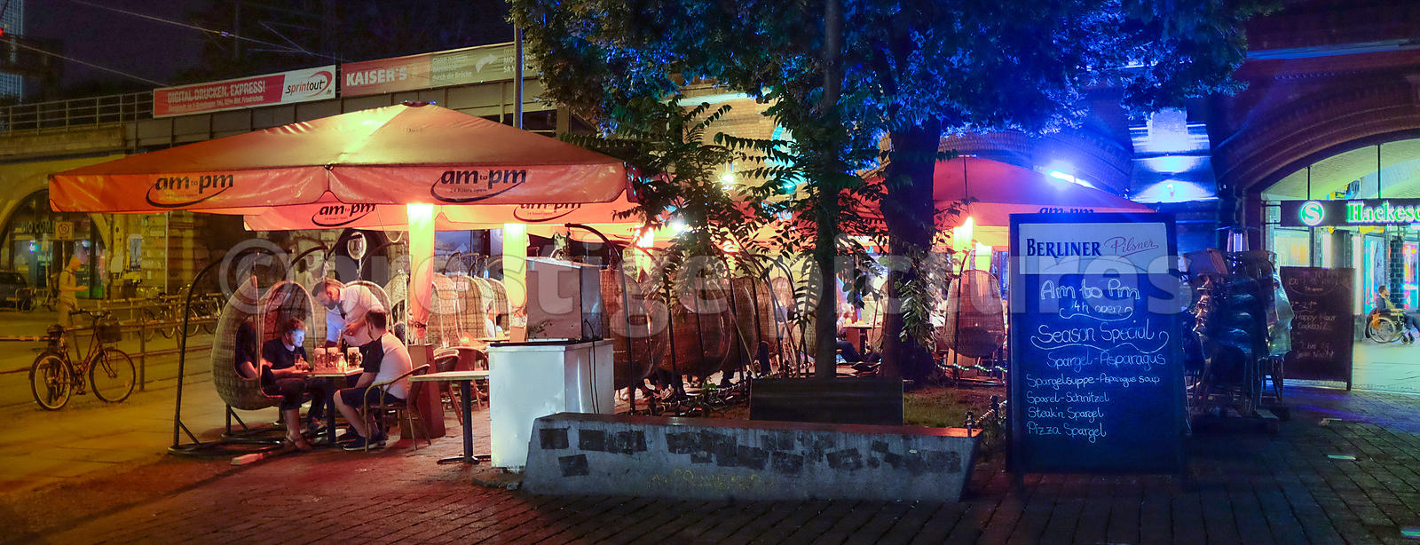 Night time DIners in an Outdoor Restaurant in Hackerscher Markt, Berlin