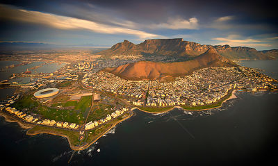 Aerial view of Cape Town city with Table Mountain, South Africa, taken from helicopter, May 2011