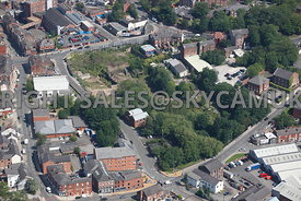 Stockport aerial photograph of old industrial land bounded by Waterloo road in the south and Hopes Carr and Wellington Street...