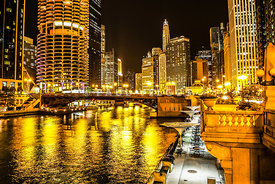 Chicago River Architecture at Night Picture