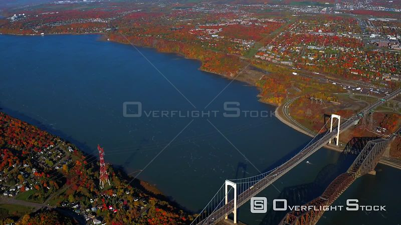 Autumn Colours Pierre Laporte and Quebec Bridge St Lawrence River Quebec City