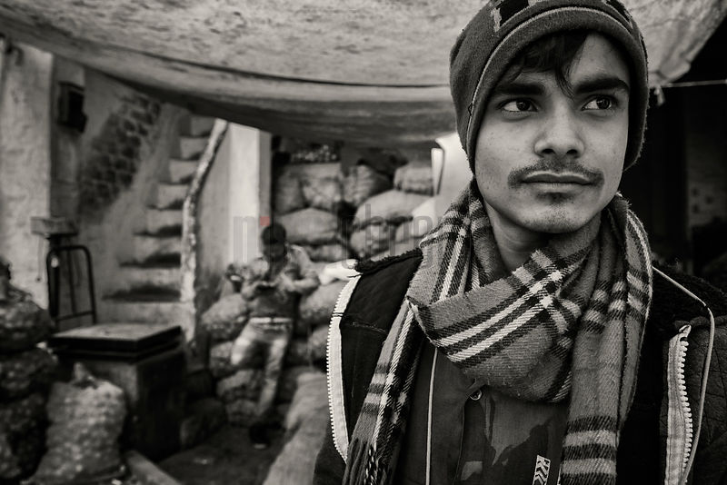 Portrait of a Porter at an Old Delhi Vegetable Market