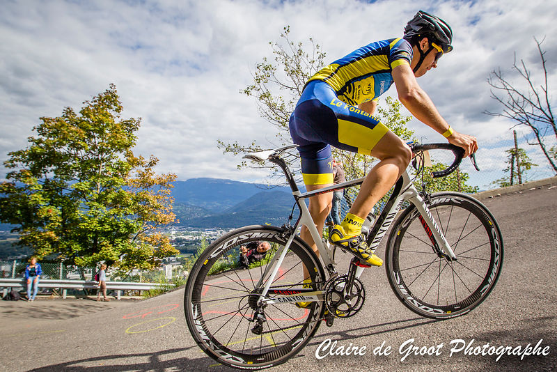 Victor Letréguilly from Fontanil Cyclisme rider showing you just how steep the climb can get.