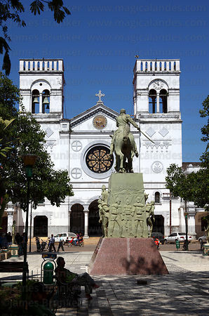 Cathedral and monument to General Jose Ballivián , Trinidad , Beni , Bolivia