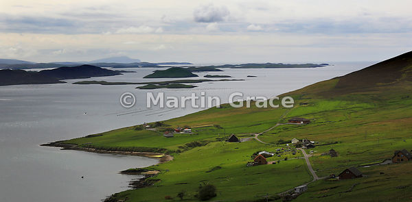 Looking south over Weisdale Voe to the islands of Greena, Flotta, Hoggs of Hoy, North Havra and Hildasay, Central Mainland, S...