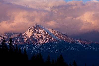 Mt. Krivan, national symbol of Slovakia. Southwestern slope at sunset. Western Tatras, Slovakia, May 2008.