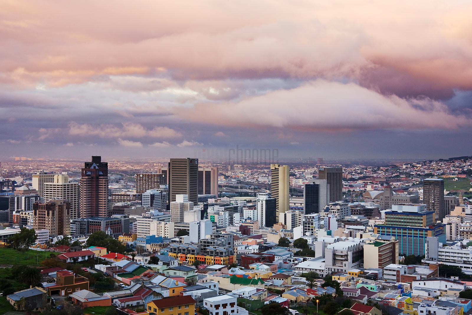 Cape Town Skyline after rain at Dusk Western Cape South Africa