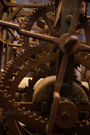 Gears and cogs of an intricate mechanical device