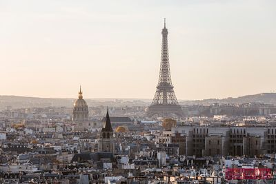 Paris and Eiffel tower at sunset, France