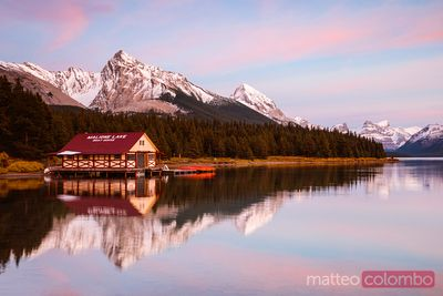 Maligne lake and boat house at sunset, Jasper National Park, Canada