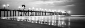 Panoramic Huntington Pier Black and White Photo