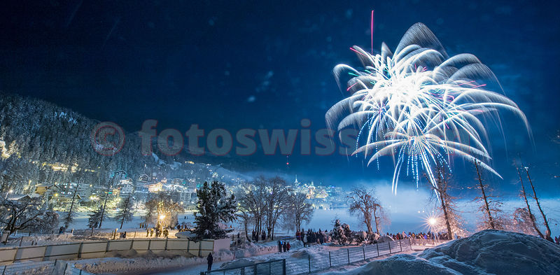 Saint Moritz New Year Fireworks on frozen Lake