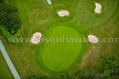 Aerial views over golf course