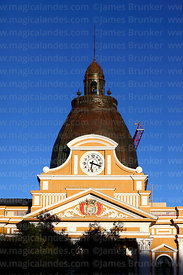 Dome of Congress building with backwards clock, Plaza Murillo, La Paz, Bolivia
