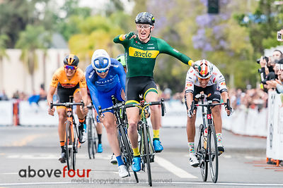 Gage Hecht (Aevolo), who turned 19 in February, wins Stage 4 criterium ahead of names like Summerhill, Menzies, and Huff.