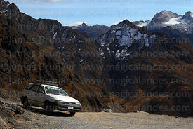 Car parked on El Choro Inca trail just below Apacheta Chucura, Cotapata National Park, Bolivia