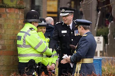 Chief Constable for Leicestershire Simon Cole & PCC Sir Clive Loader Meeting Police Officers on Duty