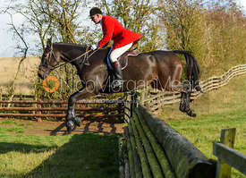 Tim Hercock jumping a fence. Quorn Hunt Opening Meet 2018