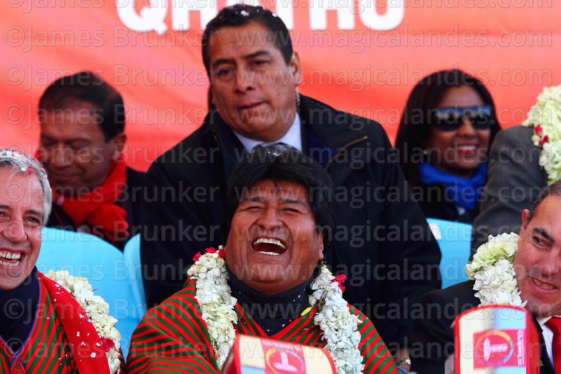 Bolivian president Evo Morales laughs during the cable car Red Line inauguration ceremony , La Paz, Bolivia