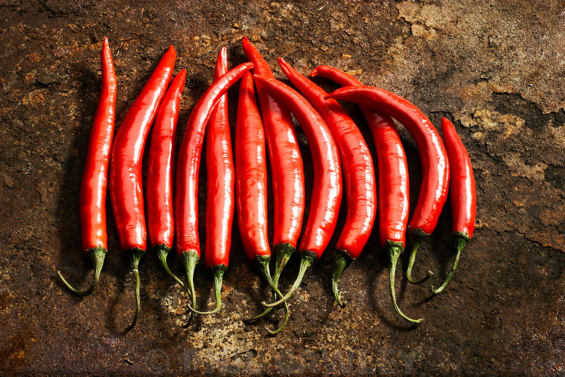 Spicy red chilli peppers