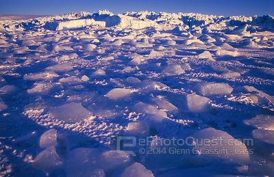 Ice-debris frozen into sea-ice at edge of Forbes Glacier, Mawson coast, Antarctica