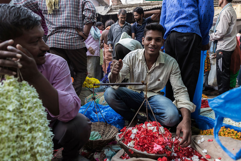 Flower Seller at the Varanasi Flower Market