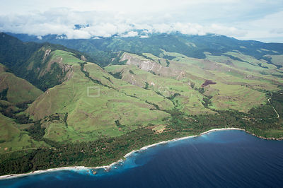 Aerial view of uplifted coral terraces, Huon Peninsula, Papua New Guinea