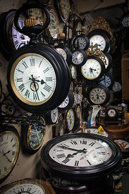 Clocks fill a shop in Chor Bazaar, also known as the Thieves Market, Mumbai, India.
