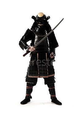 A semi-silouette of a Samurai warrior with his sword out - shot from eye-level.