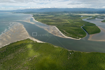Aerial view of the Daintree River Mouth / Delta, Queensland, Cairns