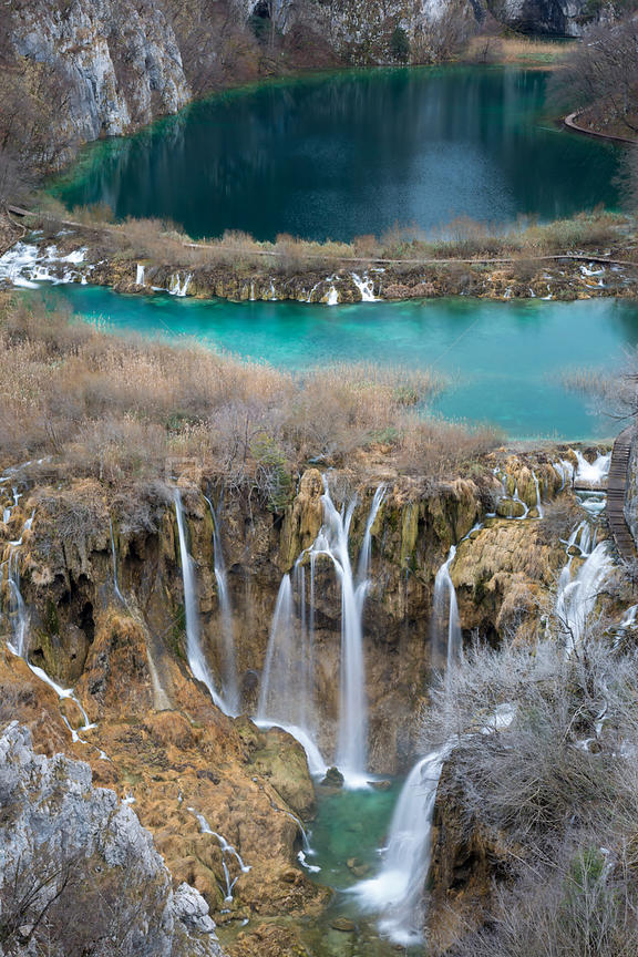 View up Korana Gorge, Plitvice Lakes National Park, Croatia. January 2015.