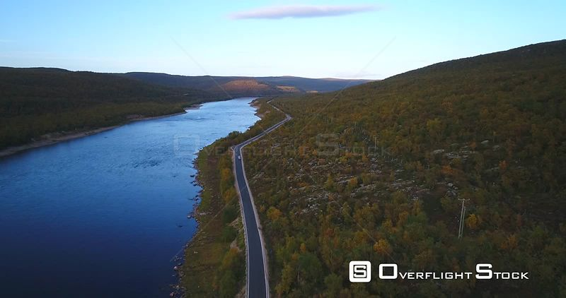 Autumn Color Road, Aerial View Following a Car on 970 the Tenontie Road Full of Different Colors, Near Tenojoki River, on a S...