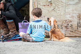 Young boy sitting at a horse show petting a dog