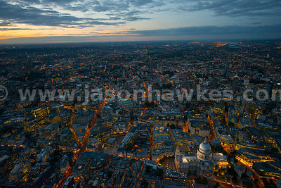 London. Aerial view of the City of London at night