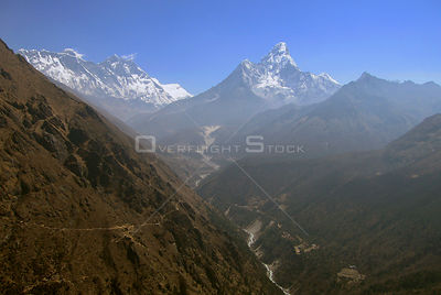 NEPAL Khumjung -- 26 Mar 2007 -- Aerial file photo dated 16 Apr 2005 of the High Himalayan Range near Mount Everest (left) sh...