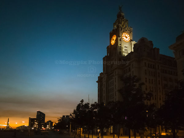 The Royal Liver Building on a Colourful Night